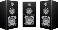 The black 3d speakers isolated on the white background