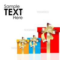 illustration of set of vector gift boxes on an isolated background with sample text