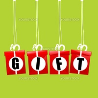 illustration of vector gift boxes hanging on isolated background