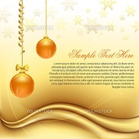 illustration of golden christmas card with balls
