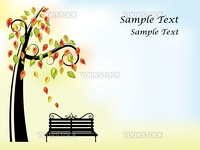 Vector picture of black bench and tree with orange, red, yellow and green leaves. RGB