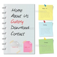 cool website template with stickers, editable vector.