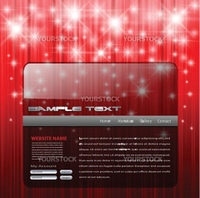 Website template, red with magic stars.