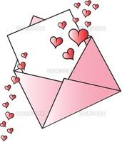 Happy valentine envelope with hearts