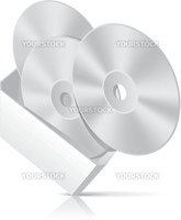 Software CD box with disks template. Vector Illustration (EPS 8.0)