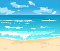 Illustration beautiful summer background with beach - vector