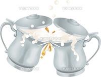 Illustration of overflowing Oktoberfest silver coloured metal ale beer mug tankards with lids toasting