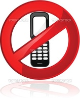 Illustration showing a sign stating that cell phones are not allowed