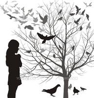 Illustrations girl looks at a tree full of birds