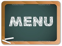 Vector - Blackboard with Restaurant Menu Message written with Chalk
