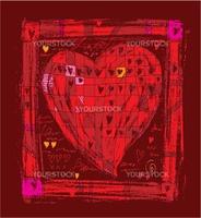 Big hand-drawn heart close into a frame
