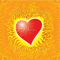 Flaming hot heart with swirls inside