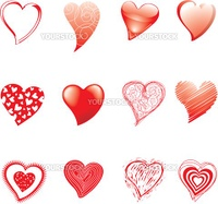 Set of hearts drawned in various styles and technics