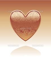 Decorative glass heart with swirls inside