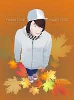 Drawing a teen boy in a cap and gumshoes, with long hair, autumn
