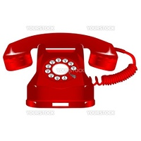 retro red telephone against white background, abstract vector art illustration