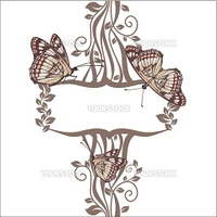 vector floral frame with butterflies