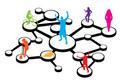 タイトル:An illustration of different types of people connected in different ways.  This works great for social networking or word of mouth referral marketing concepts.
