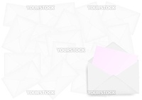Background - Closed and Open Envelopes on White Background