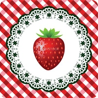 Illustration of red strawberry on lace frame checkered red white background