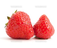 Two juicy strawberries on white background