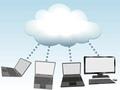 タイトル:Laptop and desktop computers connect to cloud computing network information technology