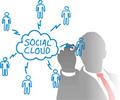 タイトル:Business person connects cloud computing and social media people in a network chart from behind frosted glass