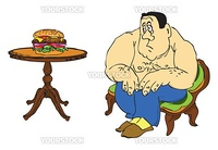 The fat man with the fear of looking at the hamburger, the topic of fat people. Vector illustration of a format EPS.