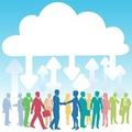 タイトル:Company people doing business in IT cloud computing environment