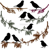 Set of birds silhouettes, birds sitting on branch tree, tree branch with birds, vector illustration