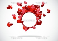 pink abstract background red hearts on a white background