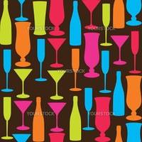 pattern vector, glasses and bottles, colorful background