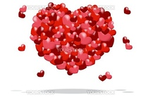 abstract background of a heart made up of red and pink hearts