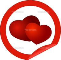 round icon with hearts on a white background as a symbol of Valentine's Day vector illustration