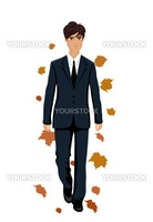 Illustration elegant autumn man isolated - vector