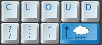 Enter the cloud with a cloud computing key on computer keyboard