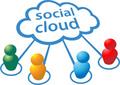 タイトル:Social media people symbols connect to cloud computing network