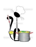An illustration of a cat the cook with a pan