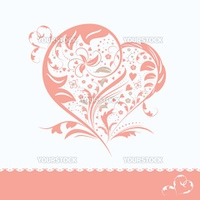 Abstract pink flower heart shape wedding invitation card