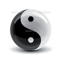 Yin and Yang symbol on a glossy ball