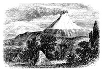 Cotopaxi Volcano in Equador, during the 1890s, vintage engraving. Old engraved illustration of Cotopaxi Volcano.