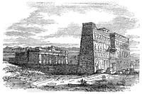 Edfu in Aswan, Egypt, during the 1890s, vintage engraving. Old engraved illustration of Edfu.
