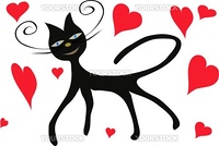 Black cat with red heart, vector, illustration