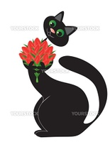 In love black cat with a flowers in paws