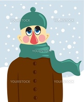 Portarait of sick man at winter background