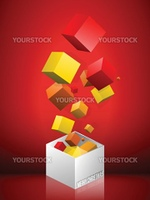 Vector - Merry Christmas Gift Box on red Background