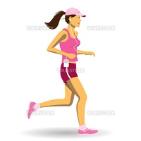 A Pretty Woman Jogging, Running