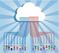 タイトル:Cloud computing social team under cloud with arrows going up and down on blue background.  Vector file available.
