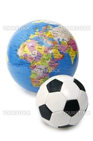 Toy soccer ball and globe - isolated on white background