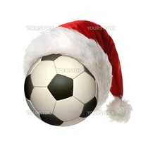 a soccer ball with a Christmas hat